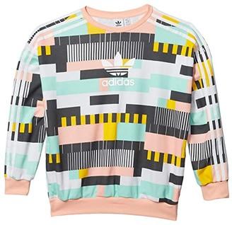 adidas Kids Kids Crew Sweatshirt (Little Kids/Big Kids) (Multi/White) Kid's Clothing