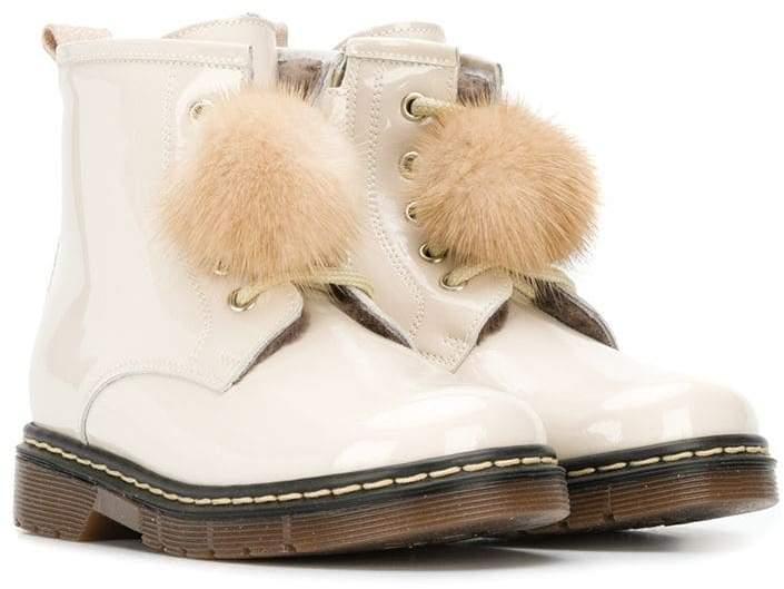 MonnaLisa pom-pom ankle boots