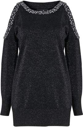 Wallis Black Embellished Cold Shoulder Jumper