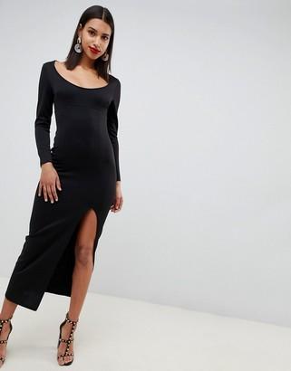 Asos Design DESIGN long sleeve scoop neck maxi dress with thigh split-Black