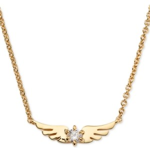 """AVA NADRI 18k Gold-Plated Crystal Wing Pendant Necklace, 16"""" + 1"""" extender"""