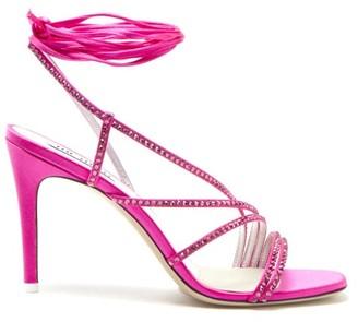 ATTICO The Baby Crystal-strap Tie-leg Satin Sandals - Womens - Fuchsia