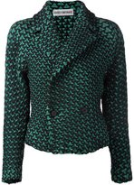 Issey Miyake geometric pattern double breasted jacket