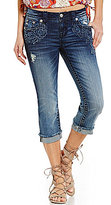 Miss Me Distressed Embroidered Stretch Jean Capris