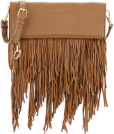 Elizabeth and James Andrew Fold-Over Fringe Clutch Bag, Camel
