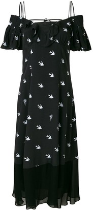 Mcq Swallow Off-The-Shoulder Swallow-Print Maxi Dress
