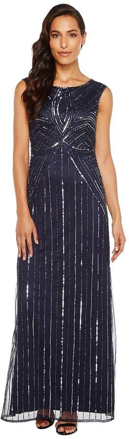 Adrianna Papell Extended Cap Sleeve Swirl Bead Gown Women's Dress
