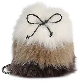 The Fur Salon Fox Fur & Rabbit Fur Drawstring Bucket Bag