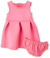 Amy Coe Newborn/Infant Girls) Two-Piece Hot Pink Pleated Fit & Flare Scuba Dress & Bloomers Set