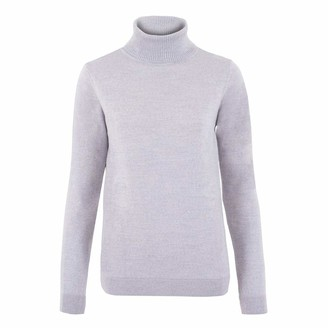 Paul James Knitwear Womens Pure Extra Fine Merino Wool Roll Neck Jumper (Light Grey M)