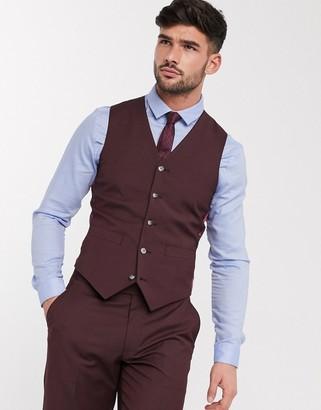ASOS DESIGN wedding slim suit waistcoat in burgundy