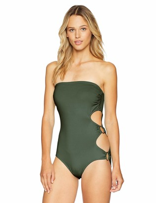 Vince Camuto Women's Bandeau One Piece Swimsuit with Ring Side Detail