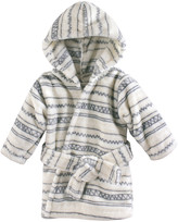 Hudson Baby Bath Robes Aztec - White Geometric Plush Hooded Bathrobe - Newborn