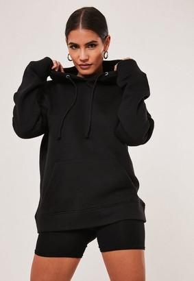 Missguided Black Oversized Basic Hoodie