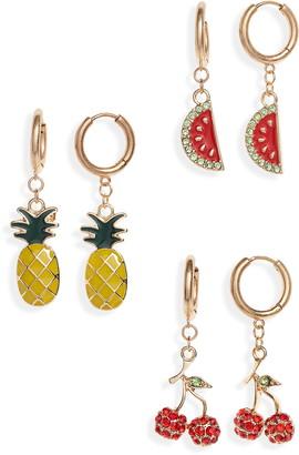 BP 3-Pack Fruit Drop Huggie Earrings