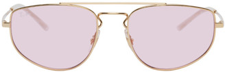 Ray-Ban Gold and Pink Metal Square Sunglasses