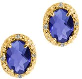 Gem Stone King 1.35 Ct Checkerboard Blue Iolite and White Diamond 18k Yellow Gold Earrings