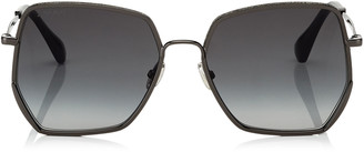 Jimmy Choo ALINE Dark Grey Shaded Square Sunglasses with Black Metal Frame