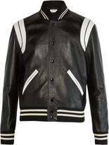 Saint Laurent Contrast-panel leather jacket
