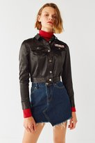 Urban Outfitters Embroidered Cropped Satin Trucker Jacket