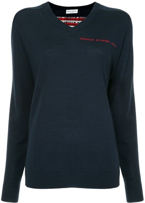 Sonia Rykiel logo back V-neck sweater