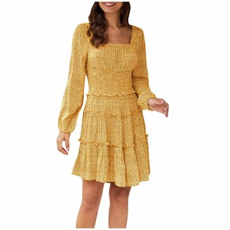 Xmiral Dress Women Floral Printed Long Sleeve V-Neck Mini Cake Dress High Waist A-line Sundress Pleated Dresses Beachwear(Yellow M)