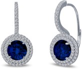 Lafonn Plated Sterling Silver Simulated Diamond Micro Pave & Lab Grown Blue Sapphire Round Halo Earrings