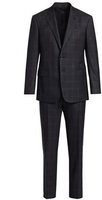Giorgio Armani Wool Windowpane Single-Breasted Suit
