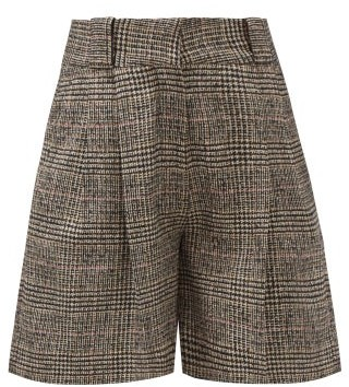 BLAZÉ MILANO Fell Longwood Checked Wool-blend Shorts - Brown White