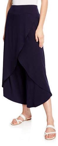 Eileen Fisher Petite Faux-Wrap Wide-Leg Jersey Crop Pants