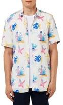 Topman Men's Trim Fit Hawaiian Print Short Sleeve Woven Shirt
