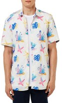 Topman Trim Fit Hawaiian Print Short Sleeve Woven Shirt