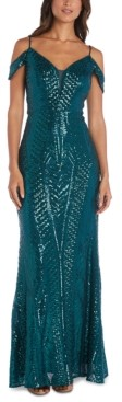 Night Way Nightway Sequin Cold-Shoulder Gown