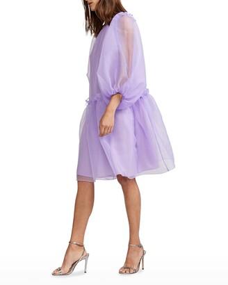 Cynthia Rowley Tallulah Puff-Sleeve Organza Dress