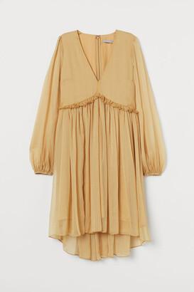 H&M V-neck Chiffon Dress - Yellow