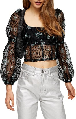 Topshop Embroidered Floral Crop Top