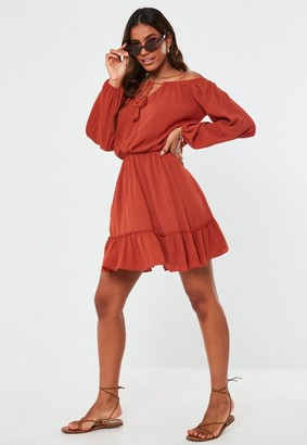 Missguided Rust Bardot Tassel Mini Dress