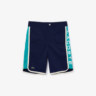 Lacoste Boys Colorblock Logo Lettering Swim Trunks