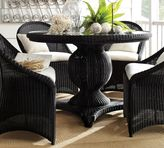 Pottery Barn Palmetto All-Weather Wicker Round Pedestal Dining Table - Black