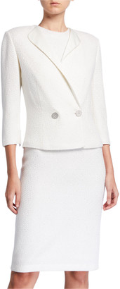 St. John Sequined 3/4-Sleeve Jacket with Duchess Satin Contrast