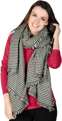 Autumn Faith Ladies Cologne Woven Scarf Black & White Dogtooth Womens Fashion Stole Shawl