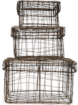 Square Iron Wire Baskets with Lids, Set of 3