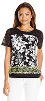 Alfred Dunner Women's Petite Floral Knit Top with Border Print