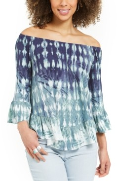 Style&Co. Style & Co Petite Printed Off-The-Shoulder Top, Created for Macy's