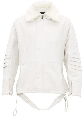 Ambush Faux-fur Collar Leather Jacket - White