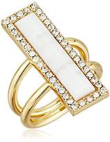 T Tahari Madison Gold-Tone How Lite Crystal Ring, Size 7