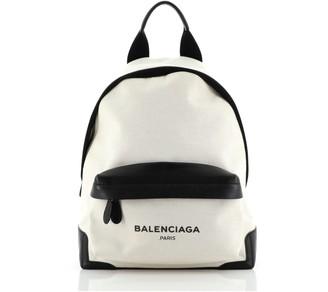 Balenciaga Navy Backpack Canvas Medium