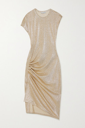 Paco Rabanne Ruched Metallic Stretch-jersey Dress - Gold