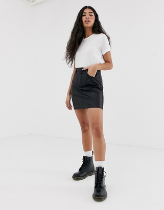 Noisy May coated a line mini skirt in black
