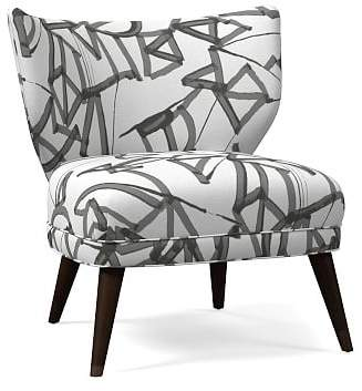 west elm Retro Wing Chair - Lively Lines Print
